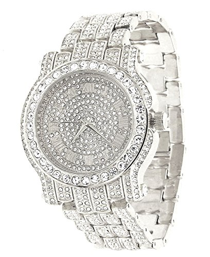 Techno Pave Voellig Iced Out Pave Silber Ton Hip Hop Herren Armbanduhr Bling Bing
