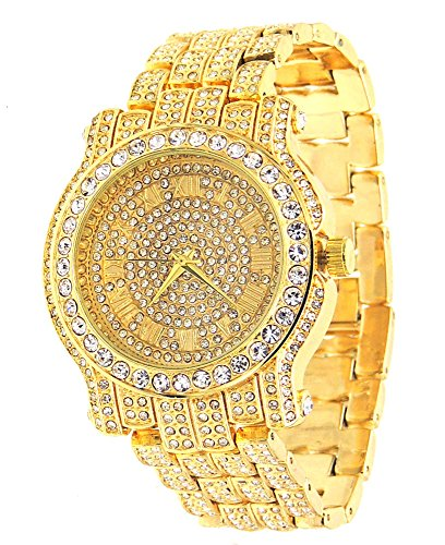 Voellig Iced Out Pave Gold Tone Hip Hop Herren Armbanduhr Bling Bing