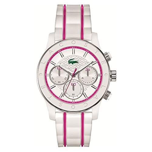 LACOSTE DAMEN 50MM CHRONOGRAPH MULTI COLOR KAUTSCHUK ARMBAND UHR 2000843