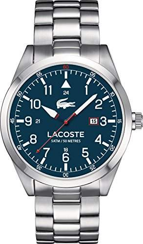 Lacoste Watches 2010783 Mens Montreal Silver Steel Watch With Blue Dial