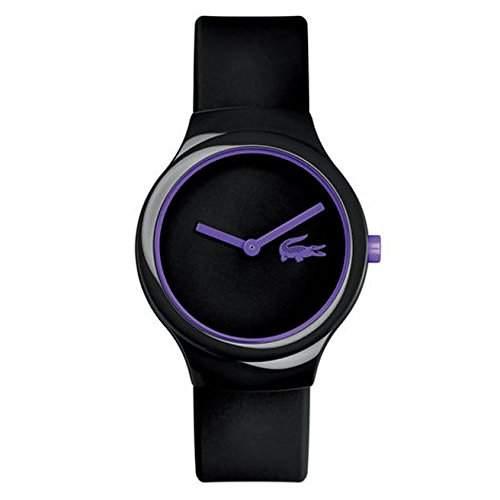 Lacoste Herren & Damen Schwarz Kautschuk Armband Plastik Gehaeuse Uhr 2020099