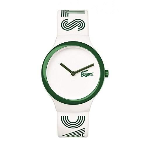 Lacoste Herren & Damen Weiss Kautschuk Armband Plastik Gehaeuse Uhr 2020104