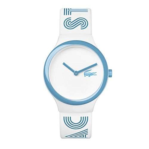 Lacoste Herren & Damen Weiss Kautschuk Armband Plastik Gehaeuse Uhr 2020105
