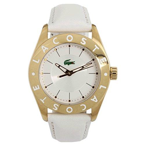 Lacoste Damen 38mm Weiss Leder Armband Edelstahl Gehaeuse Mineral Glas Uhr 2000586
