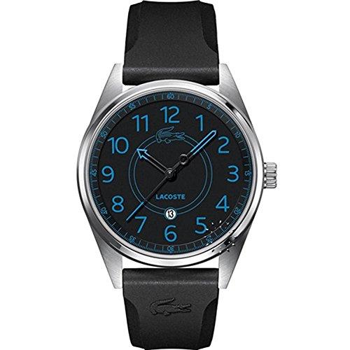 Lacoste Herren Armbanduhr 42mm Armband Silikon Schwarz Gehaeuse Edelstahl Quarz Analog 2010633