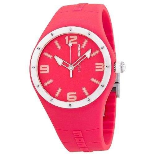 Momo Design Damen 417mm Rot Silizium Armband Mineral Glas Uhr MD1006RD-07RD-RB