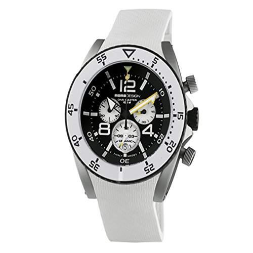 Momo Design Herren 465mm Chronograph Weiss Kautschuk Armband Uhr MD281-01BKWT-RB