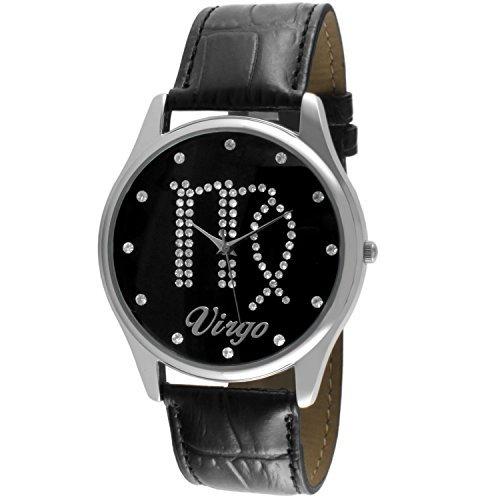 Kristall besetzt Face Sternzeichen Horoskop schwarz Leder Silber Armbanduhr Jungfrau