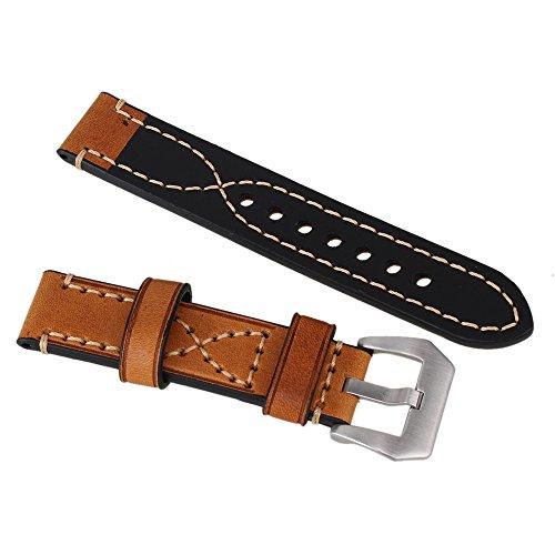 Braun 20 mm Luxus Retro Gepolsterte dicker Military Herren PU Leder Uhrenarmband Band Guertel