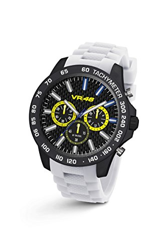 Valentino Rossi VR46 Chrono 116 VR TW Steel Orologio Kohle weisse Silikonband 45 mm