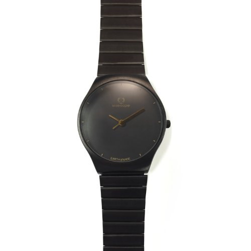Wize Ope ea 2 001 Earth Armbanduhr Quarz Analog Zifferblatt schwarz Armband Stahl vergoldet schwarz
