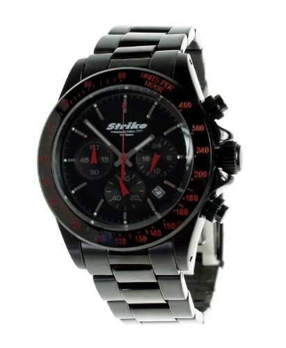 Strike Edelstahl Armbanduhr Chronograph PROFESSIONAL EDITION 7777 schwarz