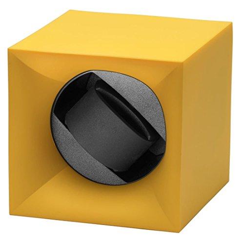 Swiss Kubik Startbox Single Uhrenbeweger in gelb Soft Touch Finish