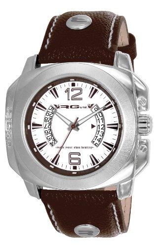 RG512 G50721 205 Armbanduhr Quarz Analog Weisses Ziffernblatt Armband Leder braun