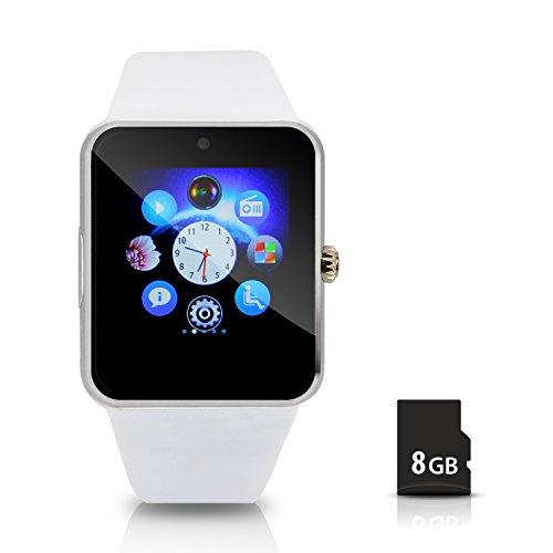 Hiwatch Bluetooth Smart Watch Uhr Handyuhr Armbanduhr mit 8GB Mikro SD Karte Weiss