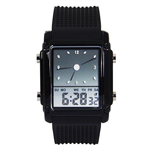 Hiwatch LED Digital Uhr fuer Maenner buntes Digital wasserdichte Sportuhr Schwarz