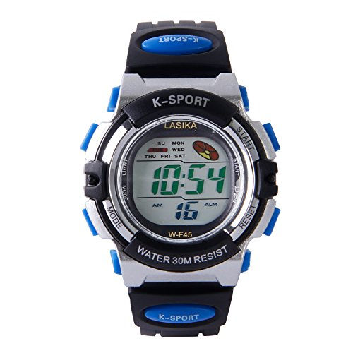 Hiwatch Kinder LED Digitaluhr Sportuhr mit Alarm Stoppuhr Armbanduhr fuer Jungen Maedchen Kindergeschenk Blau
