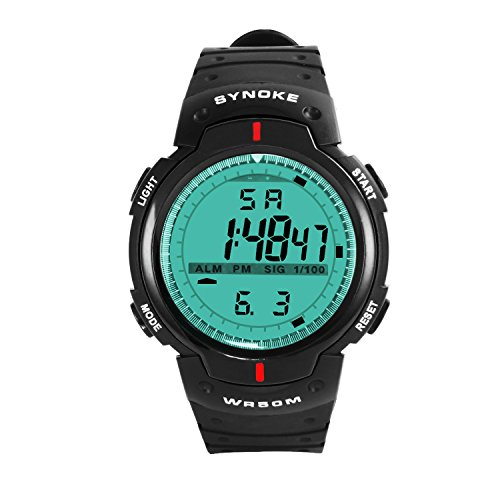 Hiwatch Sportuhr Wasserdichte LED Digitaluhr Armbanduhr mit grossem Zifferblatt fuer Maenner Schwarz