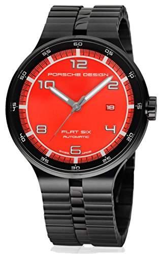 Porsche Design Flat Six Automatic Black PVD Steel Mens Watch Calendar Red Dial 635043741254