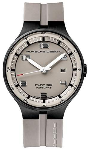 Porsche Design Flat Six Automatic Black PVD Steel Mens Watch Calendar Grey Dial 635043941255