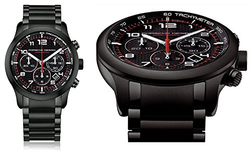PORSCHE DESIGN Mod DASHBOARD P6612 PVD BLACK AUTOMATIC CHRONO ETERNA MOVEMENT TITANIUM ALUMINIUM PVD BLACK Case Bracelet CARBON Dial with Red details 42mm Date Sapphire glass frontback WR 1