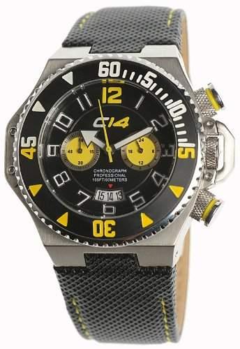 Carbon 14 Herren-Armbanduhr Chronograph Edelstahl schwarz E13