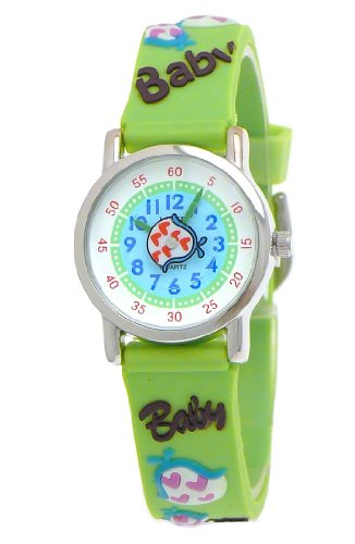 VIVE Kinderuhr Silikon Armband Uhr mit Baby Schriftzug Laetzchen Rassel Hellgruen Gruen Tuerkis Weiss B167