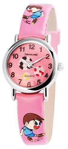 Tavoilno Fussball Kids Watch Soccer analog Kinderuhr Pu Leder Armbanduhr Rosa