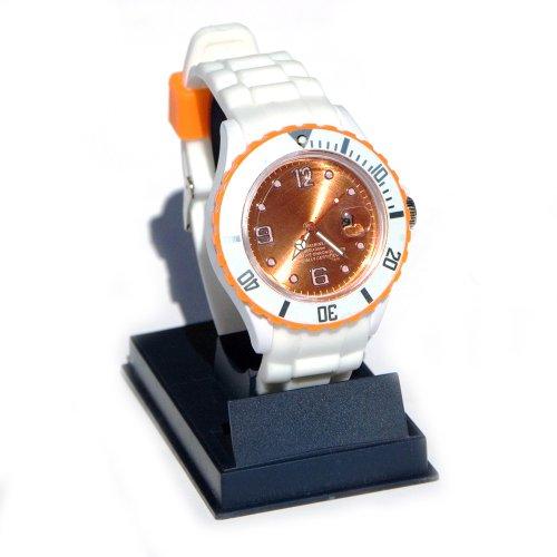 Silikon Armbanduhr Snow White ORANGE weiss mit farbigen Details und Datumsanzeige und drehbarem Ziffern Ring Silicone Armband Uhr