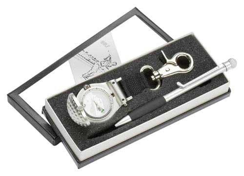 Golf Geschenk Set mit Golf Uhr und Golf Kugelschreiber