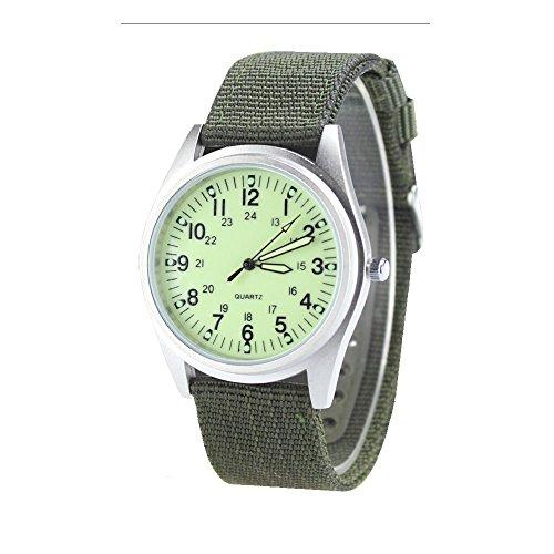 City Armbanduhr im Armee Stil Gehaeuse in Mattsilber Hellgruenes Zifferblatt Quarzuhr Nylon Armband
