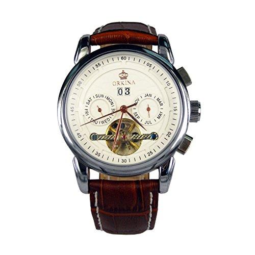 City Armbanduhr Edelstahl Gehaeuse Rotgoldene Zeiger Automatisch mechanisch braunes Lederband Armbanduhr