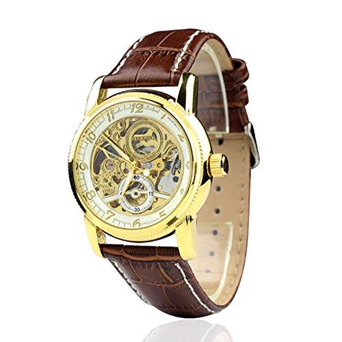 City Herren Golden Fall Automatische Skelett Zifferblatt braun Lederband Armbanduhr