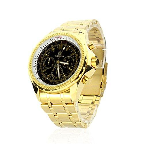 City Chronograph Schwarz Zifferblatt Gold Farbe Japan Quarz Edelstahl Armbanduhr