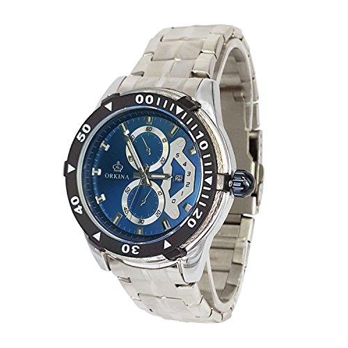 City silber Fall 6 Haende Chronograph Ocean Blau Zifferblatt Edelstahl Armband Armbanduhr