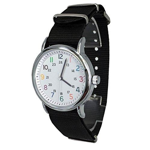 chronomart Unisex Stoff weiss klein Zifferblatt Quarz Silber Fall Nylon Canvas Band Armbanduhr ork 0092b