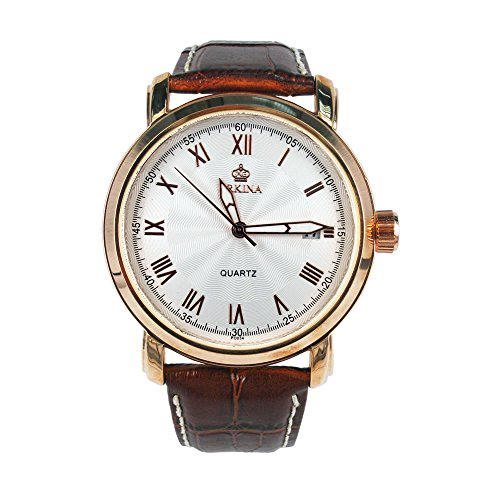 City Rose Gold Fall Datumsanzeige Lederband Herren Business Armbanduhr