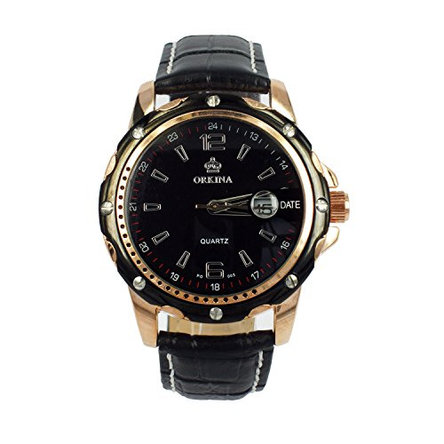 City Rose Gold Fall Datum Display Herren Business Fashion Schwarz Lederband Armbanduhr