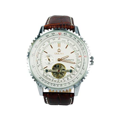 City silber Edelstahl Fall Datum Display Automatische mechinacal braun Lederband Armbanduhr
