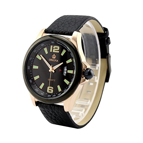 City Edelstahl Datum Display Case schwarz Zifferblatt Japan Quarz Braun Lederband Armbanduhr