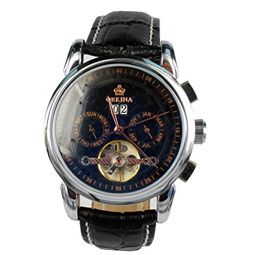 City Edelstahl Fall Schwarz Datum Zifferblatt automatische mechanische schwarz Leder Band Armbanduhr