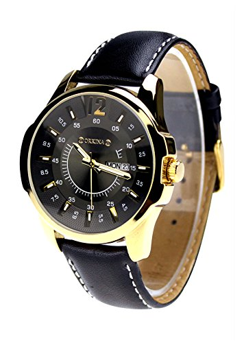 City Herren Fashion Golden Farbe Fall Datumsanzeige Zifferblatt schwarz Lederband Armbanduhr