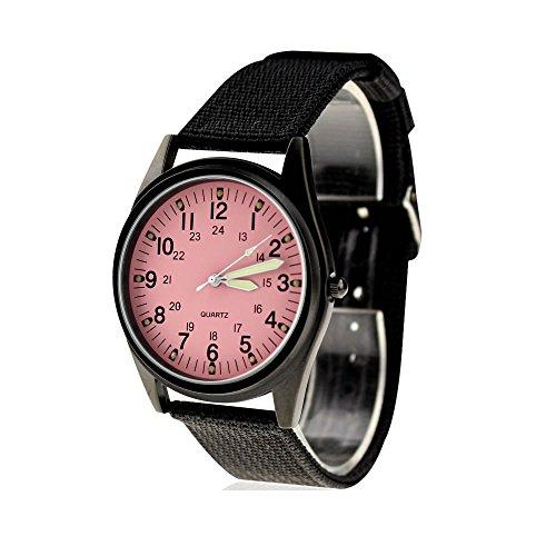 City Fashion Schwarz Stahl Fall Pink Zifferblatt Nylon Stoff Strap Armbanduhr