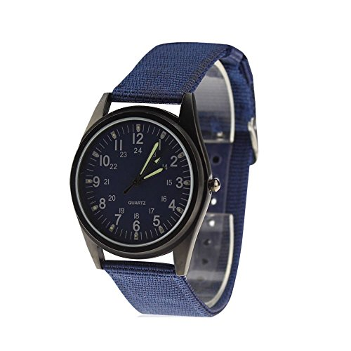City Fashion Schwarz Fall Navy Blau Zifferblatt Nylon Stoff Strap Armbanduhr