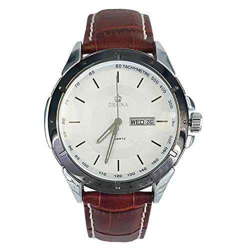 City Herren Business Weiss Zifferblatt Datum braun Lederband Armbanduhr