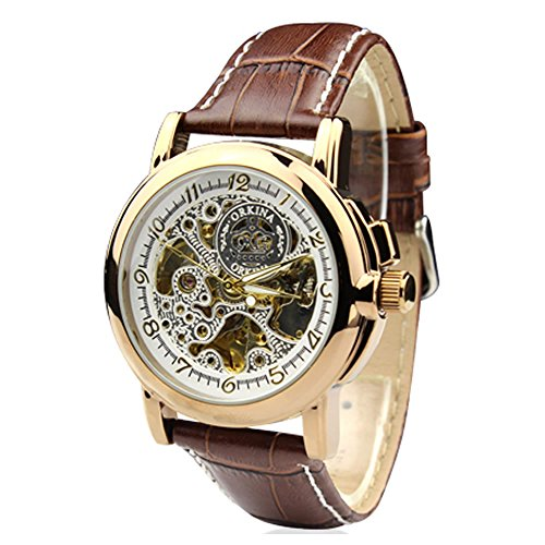 City Herren Bronze Fall Mechanische automatische Lederband Armbanduhr