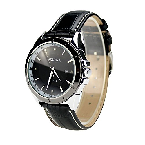 City Herren Schwarz Zifferblatt Datum Strass Deco Lederband Armbanduhr