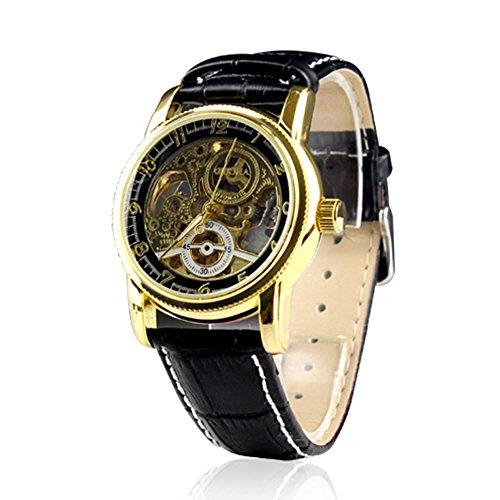 City Herren Gold Farbe Fall Skelett Zifferblatt schwarz Leder Band Armbanduhr