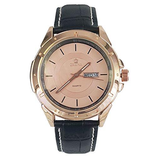 City Herren Rose Gold Zifferblatt Datum Schwarz Lederband Armbanduhr