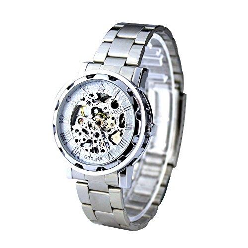 City weiss Trim mechanisch aufziehbar Edelstahl Armband Luxus Herren Armbanduhr